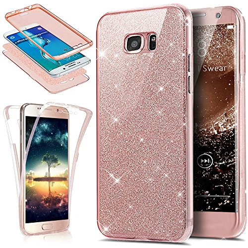Ukayfe Custodia Cover Samsung Galaxy S8 Plus, 360 Grad TPU Silicone Gomma Gel Custodia per Galaxy S8 Plus UltraSlim Glitter Brillantini Bling Diamante Copertura Cover Case Protettiva-Rosa 1#
