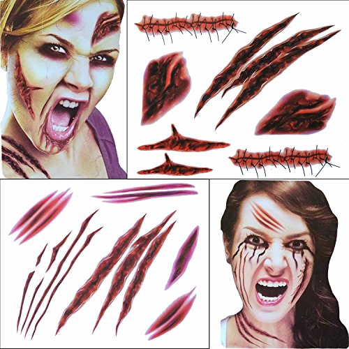 Zombie Mädchen Halloween Kostüme (COKOHAPPY 2 Groß Blätter Halloween Temporäre Tattoo Wound Scar Narben Kostüm Party and Zombies Cosplay Set Set von)