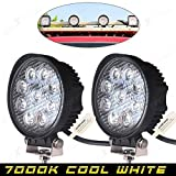 #10: AllExtreme 2 X 27W Flood Round Work LED Light Fog Driving DRL Offroad SUV Boat Truck ATV Car