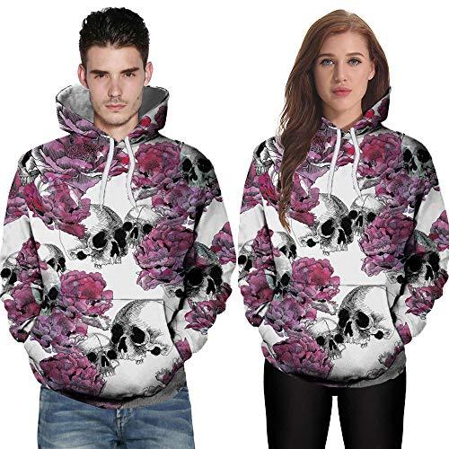 hädel Hoodie Männer Damen Langarm Kürbis 3D Drucken Winter Frauen Kapuzenpullover Party Hoodie Top Sweatshirt Rosa(Rosa,CN XL) ()