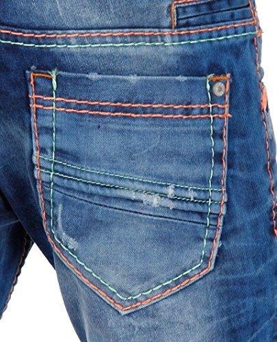 Red Bridge Herren Neon Line Regular Fit Jeans Pants Denim Blau Blau