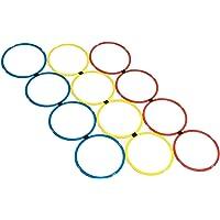 Meiwar Anelli di coordinazione – Set di 12 anelli di coordinazione in giallo, rosso, blu, anelli agility per l…
