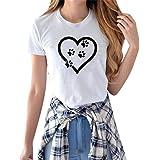 Lulupi Magliette a Manica Corta da Donna Moda Stampa Maglietta Casuale Girocollo Taglie Forti Oversized T-Shirts con Scollo R