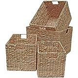 Wicker Storage Shelf Drawer Office Basket - Natural Water Hyacinth (Small - W 20 x D 28 x H 20cm)