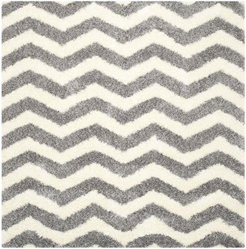 Safavieh Shaggy Teppich, SGM846, Gewebter Polypropylen Quadratische, Elfenbein/Grau, 200 x 200 cm - Ivory Square Teppich