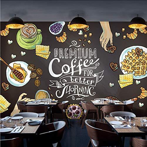 Dalxsh Fototapete TTafel Kreide Graffiti Wandbild Tapete Delikatesse Geröstet Laden Kaffee Lounge Tee Shop Tapete-400X280Cm - Tee-szene