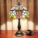 12 pulgadas Vintage Pastoral Drangonfly Rose Vitral Tiffany Estilo de la lámpara de mesa Lámpara...