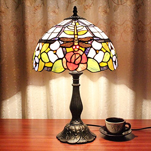 12-pouces Vintage Pastoral Drangonfly Rose Vitrail Tiffany Style Lampe de Table Lampe de chambre Lampe de chevet