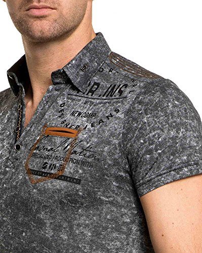 BLZ jeans - Polo gesprenkelt Anthrazitgrau Mann Grau