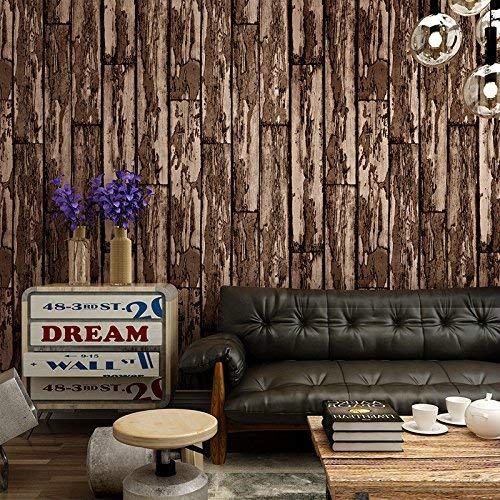 ZXL TV-Hintergrund, 3D, Antikes Holz, Tapete, Esszimmer, Wohnzimmer, Fernseher, Tapete mit Retro-Bar, Dunkelbraun - Antike Esszimmer