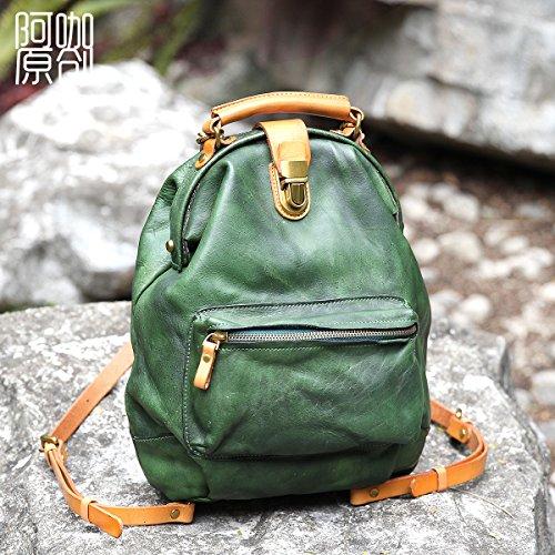 Sac à dos en cuir fait main original sac à dos en cuir mode de rue et de forfaits loisirs Green