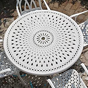 Lazy Susan Furniture - Alice 120cm Round 4 Seater Cast Aluminium Furniture Set White with Emma Chairs