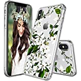 IPhone X Case, IPhone X Case Protective, MOSNOVO Floral Magnolia Flower Pattern Clear Design Transparent Plastic Hard Back Case With Soft TPU Bumper Protective Case Cover For Apple IPhone X