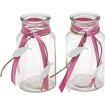 2x Teelichtglas Grun Rosa Pink Lila Fisch Vintage Kommunion