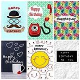 12 verschiedene Neuheit Design Geburtstagskarten und Umschläge von Greetingles.Hergestellt in Großbritannien.Neues Design