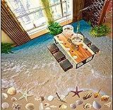 Rureng Custom 3D Photo Floor PVC Adhesive Wear Non-Slip Waterproof Thickened Self-Adhesive Wallpaper Murals Shell Beach-350X250Cm