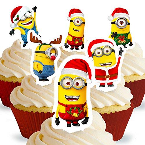 12 x Vorgeschnittene und Essbare Aufrecht Stehende Ich - Einfach unverbesserlich Weihnachten Kuchen Topper (Tortenaufleger, Bedruckte Oblaten, Oblatenaufleger)