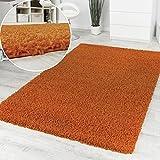 Paco Home Shaggy Orange Hochflor Langflor Teppich Einfarbig Top Aktion zum Hammer Preis, Grösse:120x160 cm