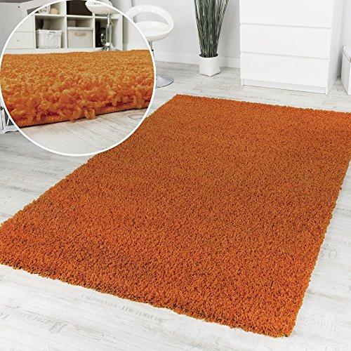 Alfombra Pelo Alto Y Largo Shaggy Naranja Monocolor Promoción Precio Increíble, Grösse:120x160 cm
