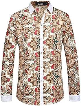 SSLR Uomo Camicie da Manica Lunga Casual Button Down Stampato Floreale