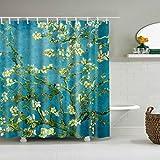 Tandou Blumen-Baum-Badezimmer-wasserdichte Polyester-Gewebe-Duschvorhang-Haken 71''x71 ''