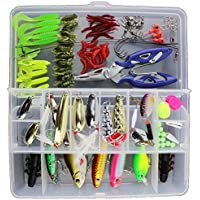 GossipBoy 101Pcs / Set Fishing Lure Kits Mixed Universal Assorted Fishing Lure Set with Fishing Tackle Box - Including Spinners, Worm, Spoons, Hard Lure, Sinking Lures, Treble Hooks, Minnow, Popper, Crankbaits, VIB, Topwater Floating Lures, Pliers, Leaders, Line Stoppers, etc for Saltwater Freshwater Fishing