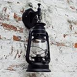 Bcyhh Wandleuchter Vintage Rustikal Klassische Industrie Wandlampe Schmiedeeisen Laterne 1×E27 220V Retro Metall Kreative Lampe Wandlicht Wegeleuchten Nacht (Schwarz)