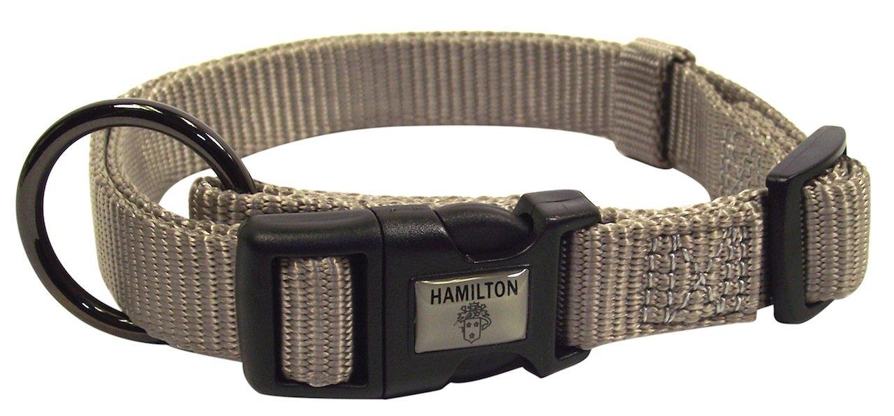 Hamilton Gun Metal Series Adjustable Dog Collar, 5/8-Inch, Moonstone