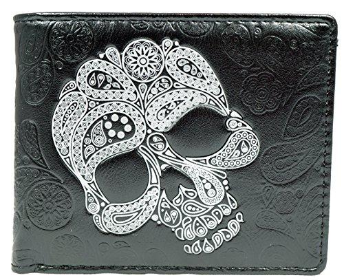 Shagwear Herren Geldbörse, Mens Wallet Designs: (Totenkopf Abstrakt/Abstract Skull)