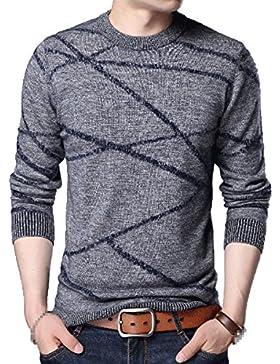 Suéter De Jersey De Punto De Moda Para Hombre Cálido Suéter De Cuello Redondo Estampado Grueso Y Chunky Para Niño...