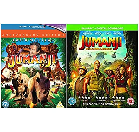 Jumanji 20th Anniversary Edition 1996 Jumanji Welcome To The Jungle 2017 Special Features Deleted Scenes Gag Reel Amazon Co Uk Dwayne Johnson Robin Williams Jack Black Jonathan Hyde Kevin