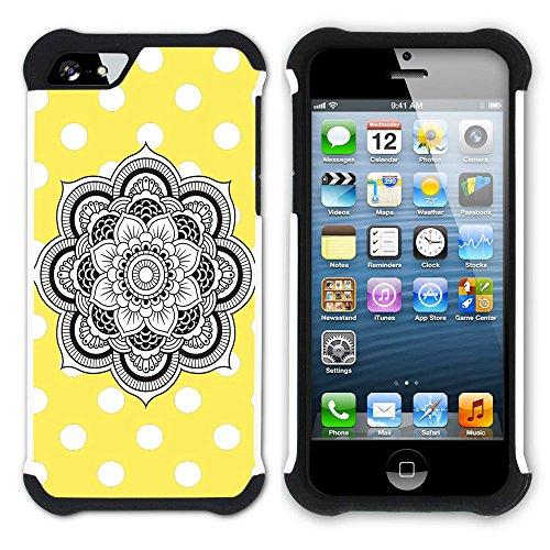 Graphic4You Mandala Blume Punktmuster Tupfen Muster (Wasserblau) Hart + Weiche Kratzfeste Hülle Case Schale Tasche Schutzhülle für Apple iPhone SE / 5 / 5S Gelb