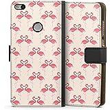Huawei P8 Lite 2017 Flip Tasche Schutz Hülle Walletcase Bookstyle Flamingo Pink Sommer
