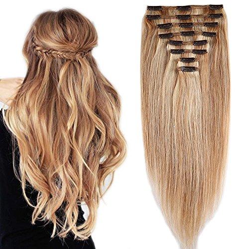 Extension capelli veri clip volumizzante meche - 40cm 130g - 8 fasce folte double weft full head 100% remy human hair lisci, 18#/613# beige sabbia biondo/ bleach biondo
