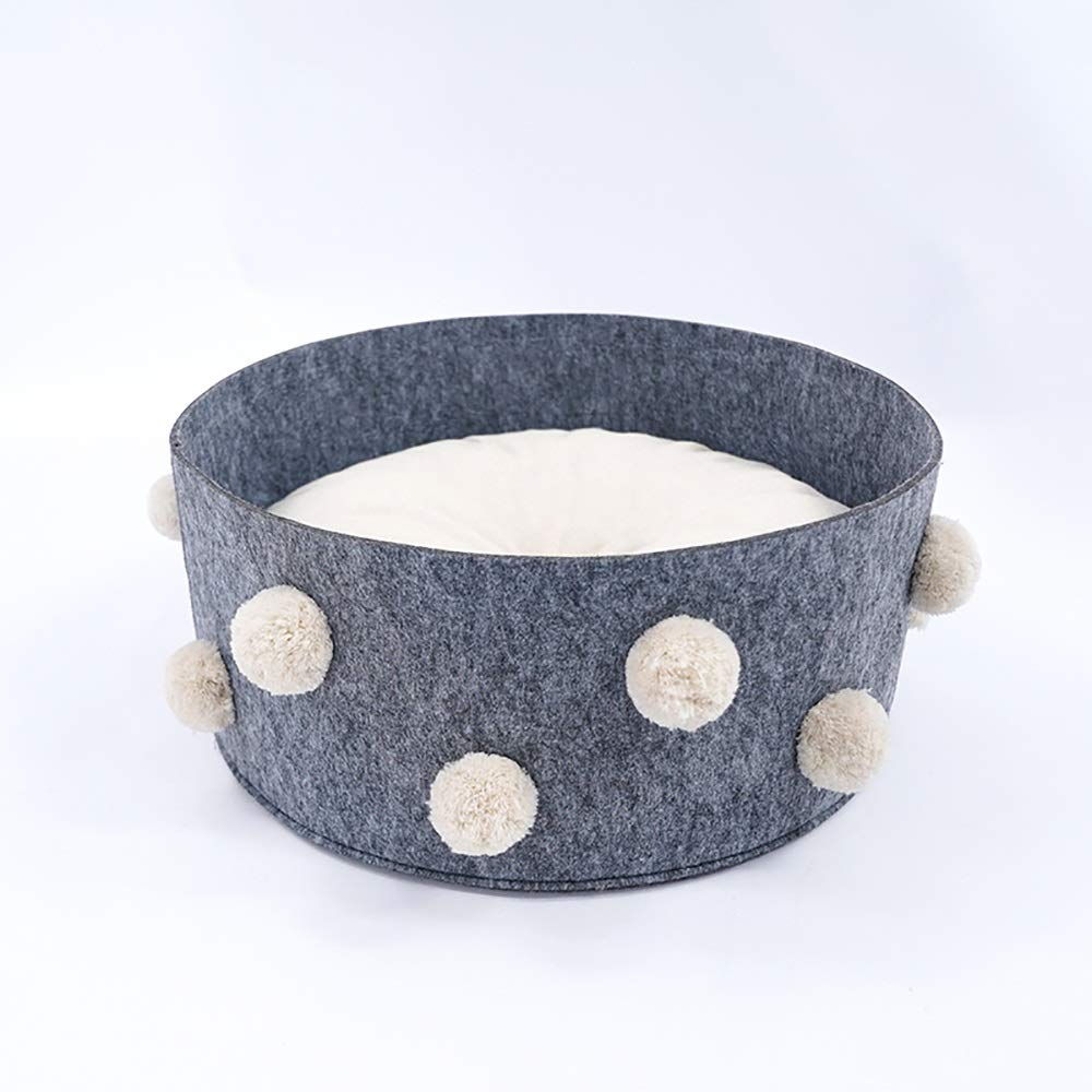 MMD-doggie kennel Comfortable 45 * 45 * 20cm,Cotton Ball Round Cat Litter Four Seasons Universal Cat Supplies Cotton And Linen Cat House Felt Nest Nest Weave Gray soft