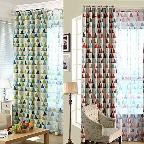 LianLe Vorhang Gardine Geometrie Dreieck Muster Blickdicht Schlaufenschal 100x250 cm Wohnzimmer Schlafzimmer Deko (A: 1 Stk Blickdicht Vorhang, Grün)