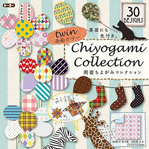 Origami-Papier - Origami-Papier gemustert Set (Chiyogami) - Chiyogami Collection Twin - 30 Muster sortiert - 4 Blätter pro Muster - 120 Blatt - 15cm x 15cm