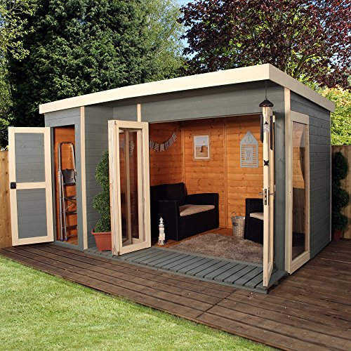 Artist Studio Overlooks Guest Cabin With Rooftop Garden: 12×8 T&G Wooden Contemporary Summerhouse With Side Storage