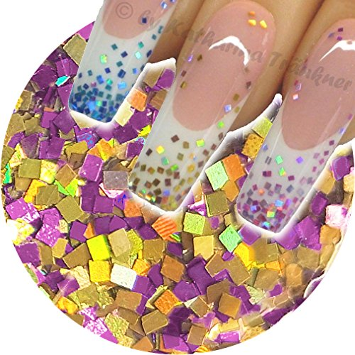 1 Boîte de 120 Tiny Multi glitzzzer, # mg Squares Lavande/Or Mix