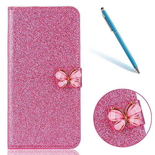 Cover pour iPhone 8Plus, CLTPY iPhone 7Plus Mignon Paillette Flash Diamond Motif Style Design avec Magnetique et Fente de Carte Full Body Wrap Back Cover Case Couvrir pour Apple iPhone 7Plus/8Plus + 1 Rosa