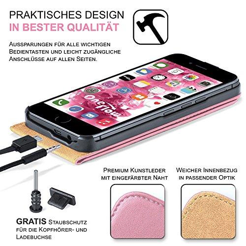 ARTLU® Pochette pour iPhone 5 / 5S / SE housse Cover avec fentes pour cartes | Flip Case étui housse téléphone portable à rabat | Pochette téléphone portable étui de protection accessoires téléphone p A5