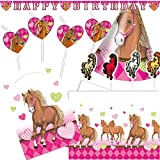 68-teiliges Deko-Set * PFERDE * für Kindergeburtstag und Motto-Party // mit Tischdecke + Trinkhalme + Partyhütchen + Girlande + Hüte + Kerzen + Luftballons + Luftschlangen // Kinder Geburtstag Pony Reiten Kinder Dekoration