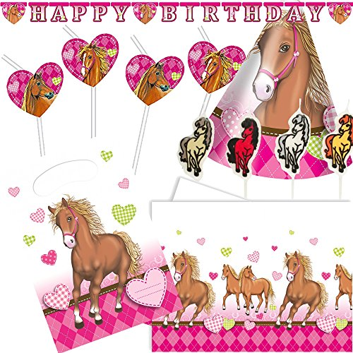 68-tlg. Deko-Set * PFERDE * für Kindergeburtstag und Motto-Party | mit Tischdecke + Trinkhalme + Partyhütchen + Girlande + Hüte + Kerzen + Luftballons + Luftschlangen | Kinder Geburtstag Pony Reiten