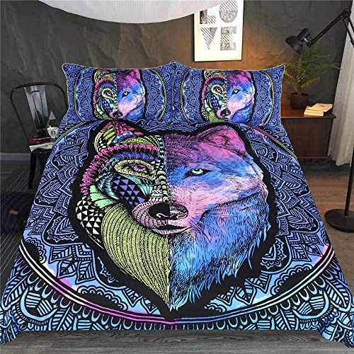 YUNSW 3D Wolf Digitaldruck Bettbezug Kissenbezug Einzel Doppelbett Voll Queen King Size Bettwäsche Set B 264x228cm / 104x90in -