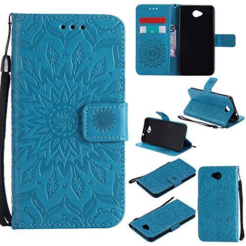YYhin Schutzfolie für Microsoft Lumia 650/Lumia 650 Dual-SIM hülle, Cartera Wallet Leder abnehmbare magnetische abnehmbare Tasche mit Flip Schutzhülle Case.(Blau)