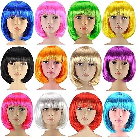 Bob Perruque Cabaret perruque Cheveux courts Charleston pour femmes, Homme et Enfants - Bob bleu foncé, Einheitsgröße