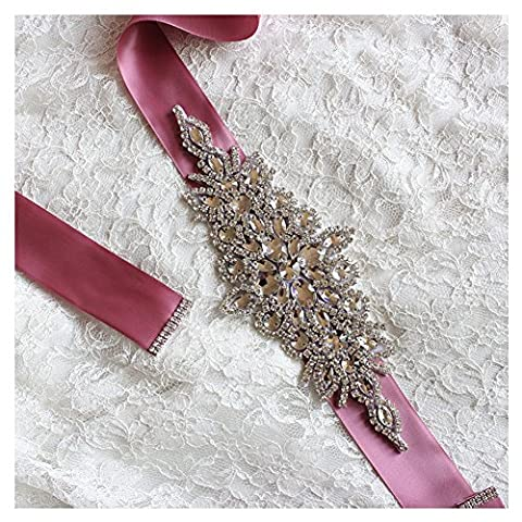 Santfe Sparkling Crystal Wedding Sash Rhinestone Belt Applique Bridal Dress Accessories (Nude Pink)