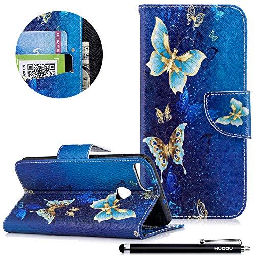 Huawei P Smart Handyhülle, HUDDU Bunt Schutzhülle Huawei Enjoy 7S Hülle Golden Schmetterling Flip Leder Tasche Wallet Case Cover Ledertasche Kartenfach Stand Brieftasche Klapphülle Mädchen (Blau) -