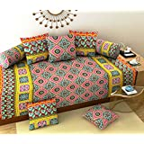 Daivik Diwan Set- Heavy Cotton Fabric Design Diwan Bedsheet Set of 8 Pieces for Living Room- Multi Color
