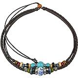 Ancient Tribe - Collana girocollo regolabile in pelle di canapa con perline turchesi (marrone)